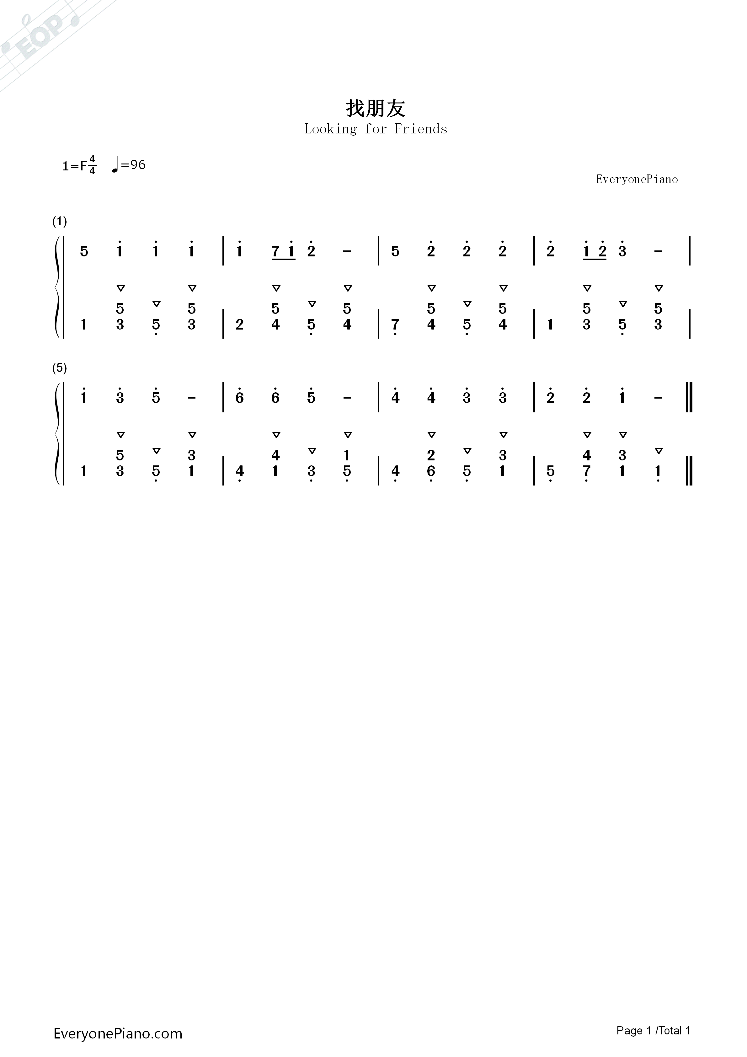 Looking for Friends Numbered Musical Notation Preview 1