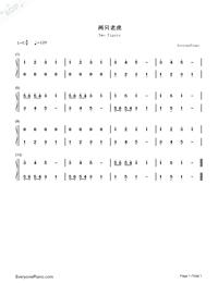 Two Tigers-Numbered-Musical-Notation-Preview-1