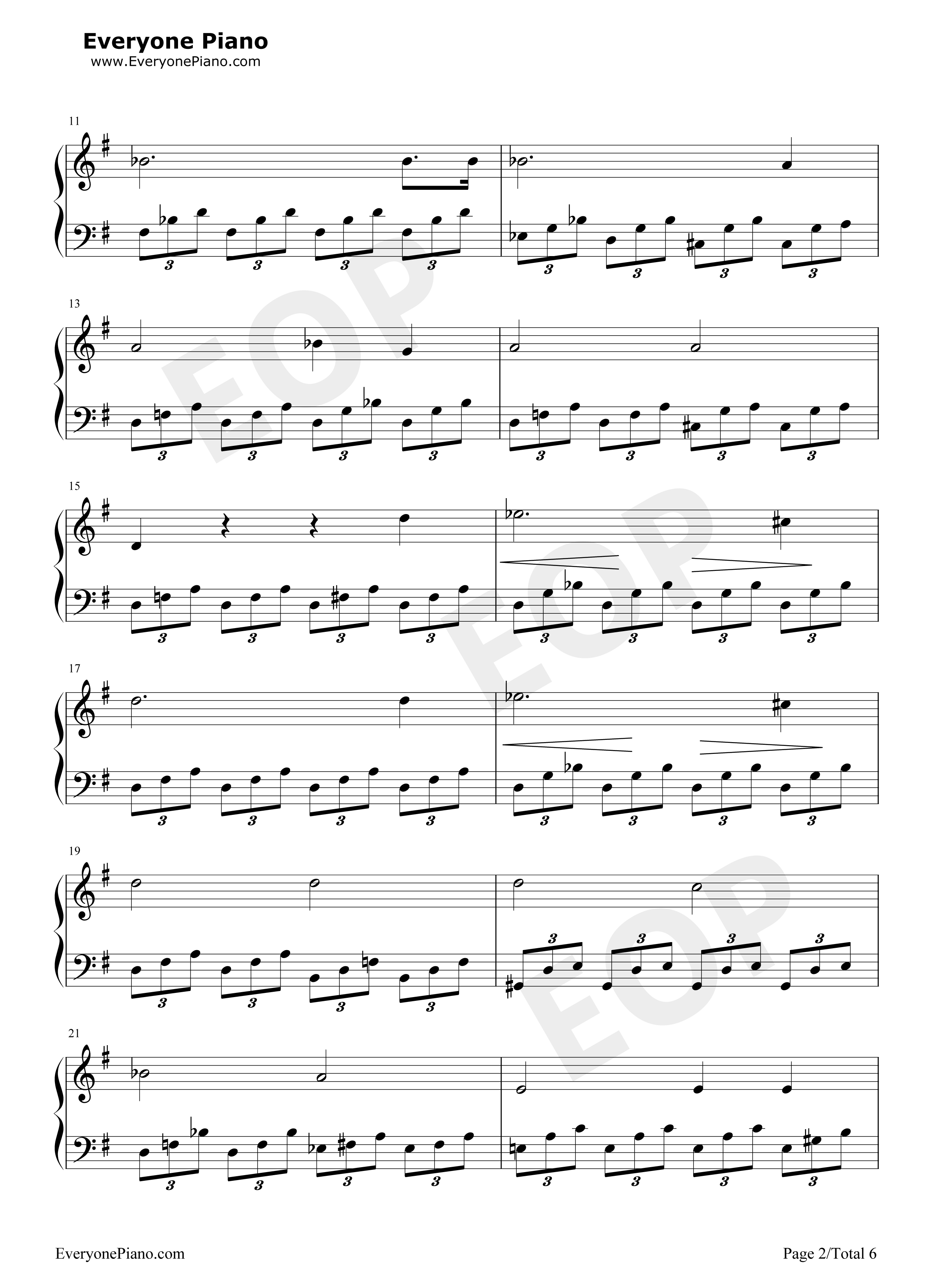 Moonlight Sonata Stave Preview 2-Free Piano Sheet Music u0026 Piano Chords