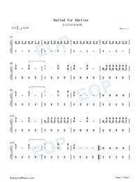 Ballade pour Adeline-Ballad for Adeline-Numbered-Musical-Notation-Preview-1