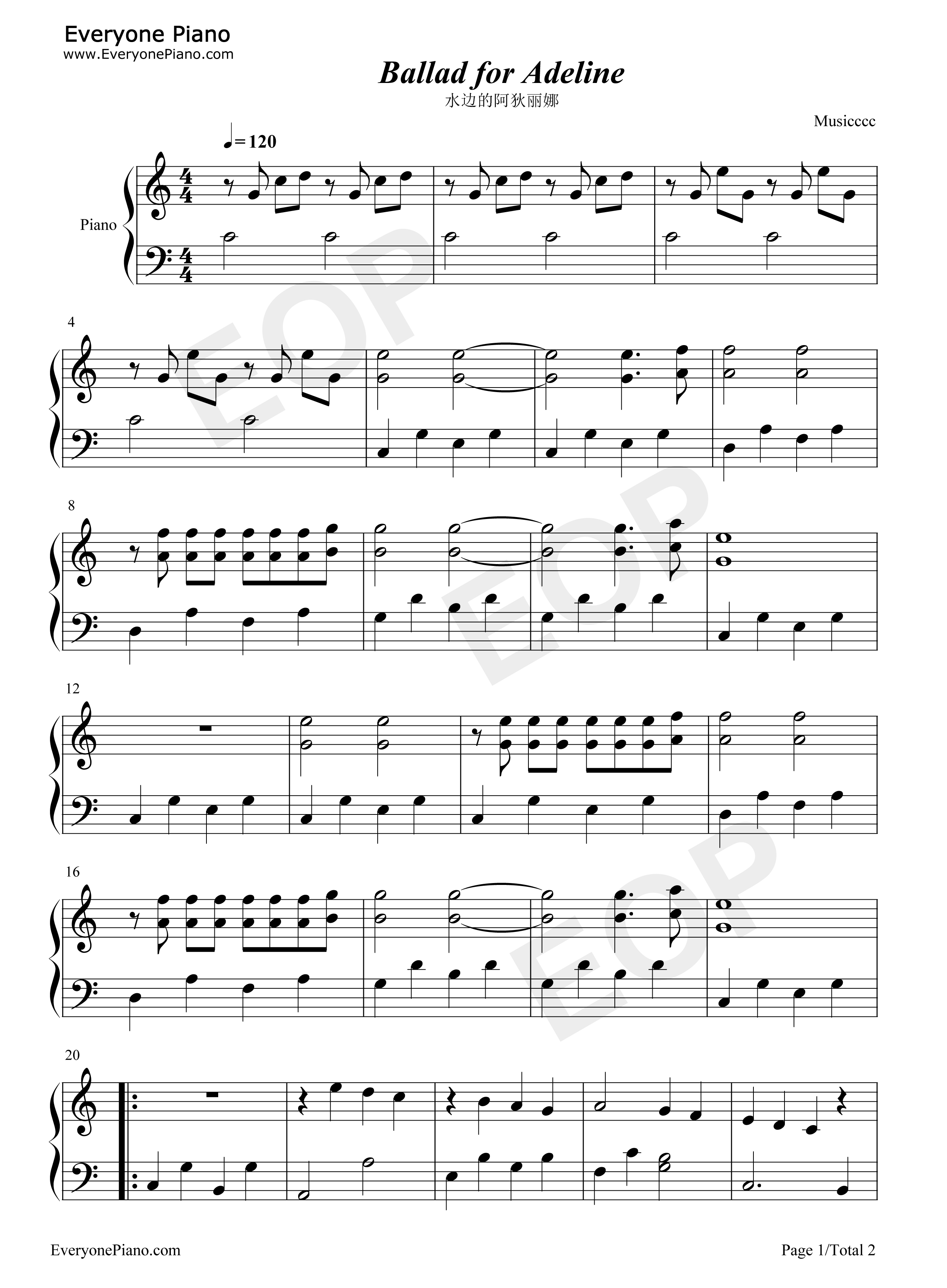 Ballade pour Adeline-Ballad for Adeline Stave Preview 1-Free Piano Sheet Music u0026 Piano Chords