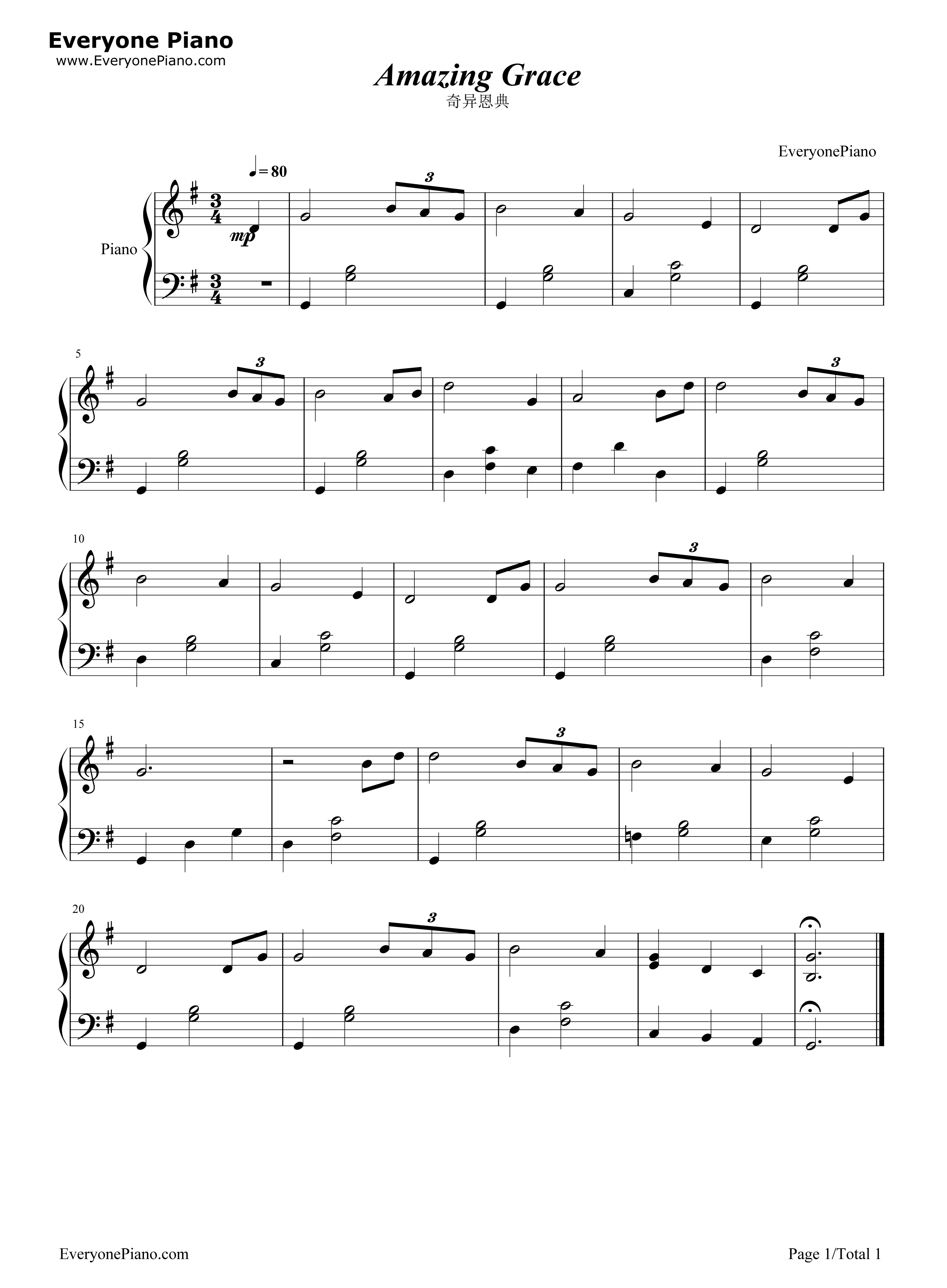 Amazing grace stave preview 1 free piano sheet music piano chords listen now print sheet amazing grace stave preview 1 hexwebz Image collections