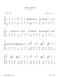 Lady in Black-Numbered-Musical-Notation-Preview-1