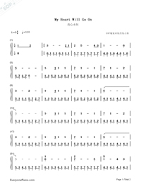 My Heart Will Go On Easy Version-Celine Dion-Numbered-Musical-Notation-Preview-1