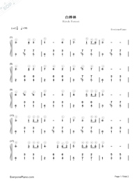 Birch Forest Numbered Musical Notation Preview 1