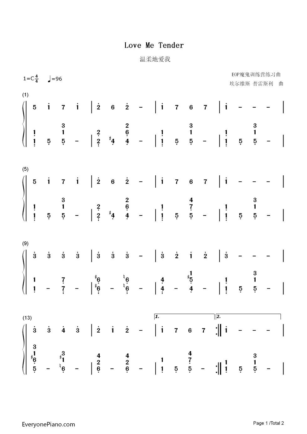 love me tender sheet music pdf
