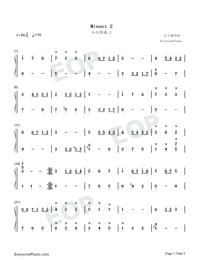 Minuet 2-Johann Sebastian Bach-Numbered-Musical-Notation-Preview-1