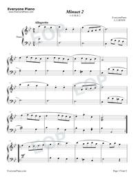 Minuet 2-Johann Sebastian Bach Stave Preview 1