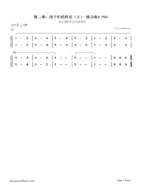 Etude NO.4 of the EOP Self-study Crash Course Midi Version season 2: Beyer Piano for Children-Numbered-Musical-Notation-Preview-1