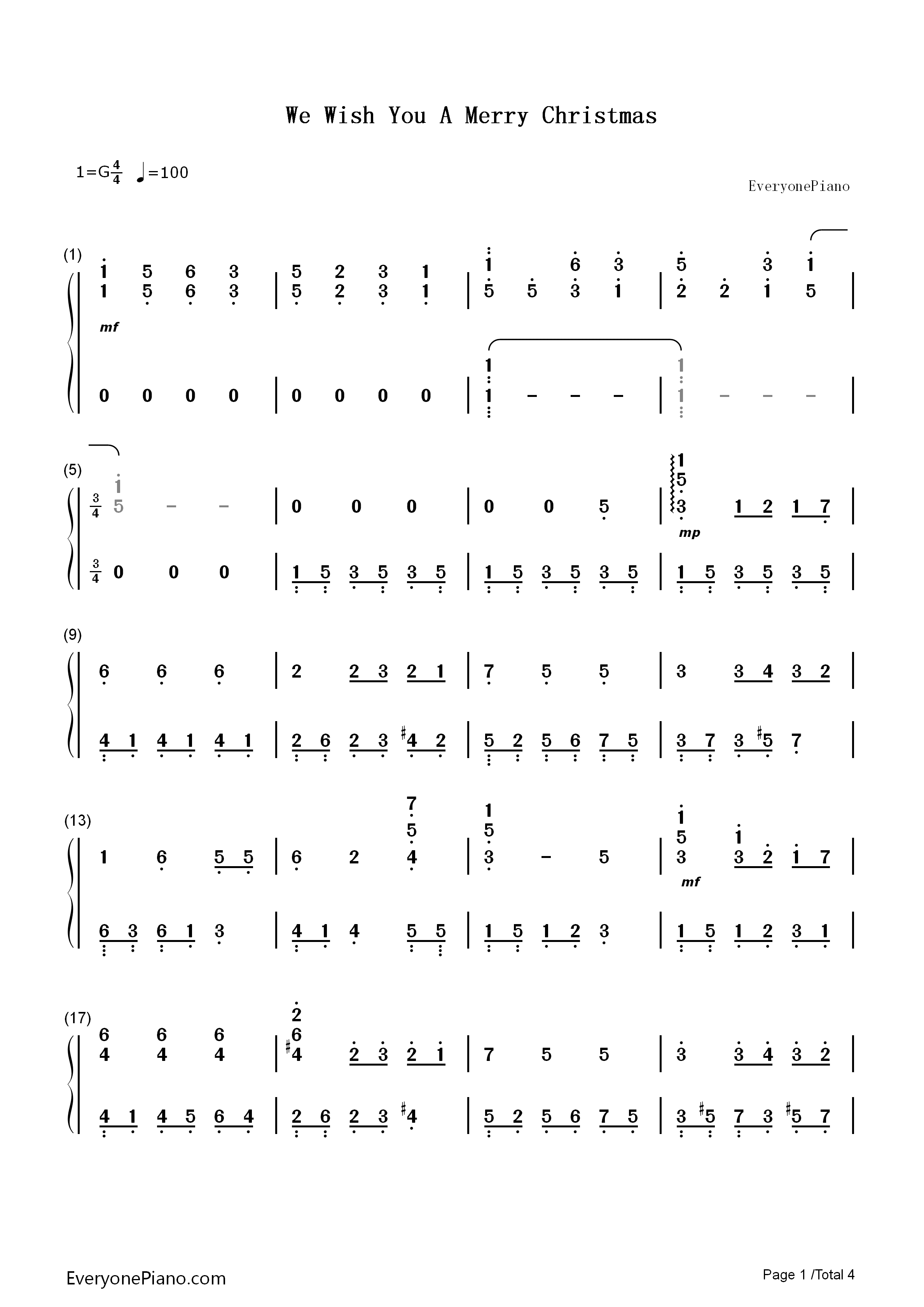 We Wish You A Merry Christmas Numbered Musical Notation Preview 1 ...