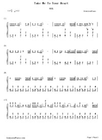 Take Me To Your Heart Numbered Musical Notation Preview 1