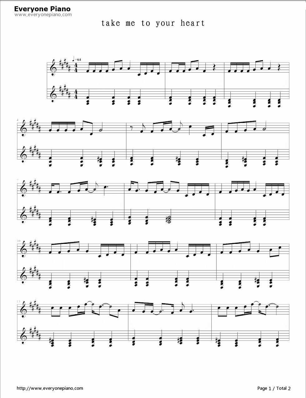 Take me to your heart stave preview 1 free piano sheet music listen now print sheet take me to your heart stave preview 1 hexwebz Images