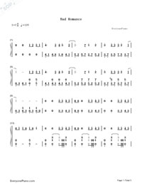 Bad Romance-Lady Gaga Numbered Musical Notation Preview 1