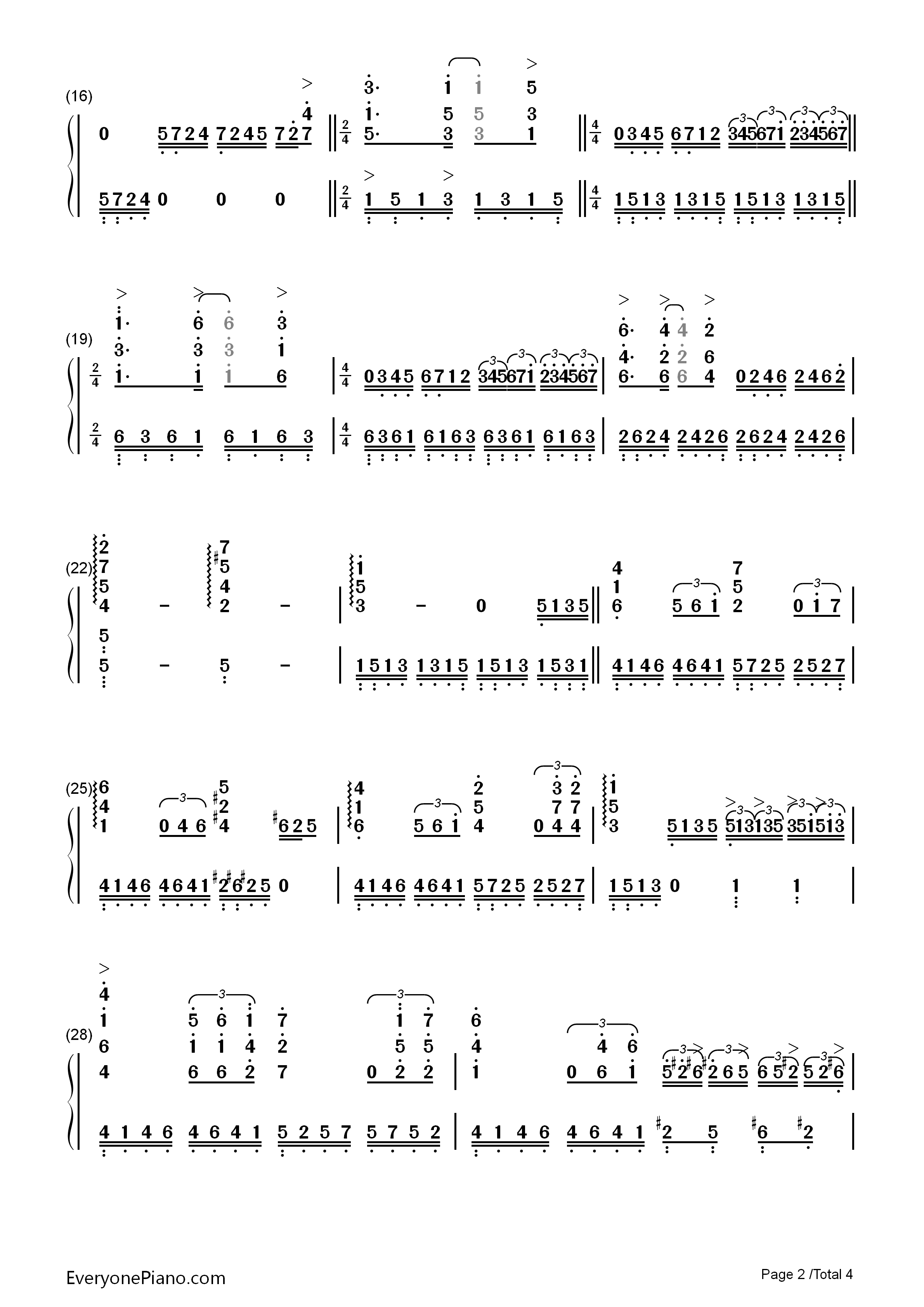 Unchained Melody Numbered Musical Notation Preview 2