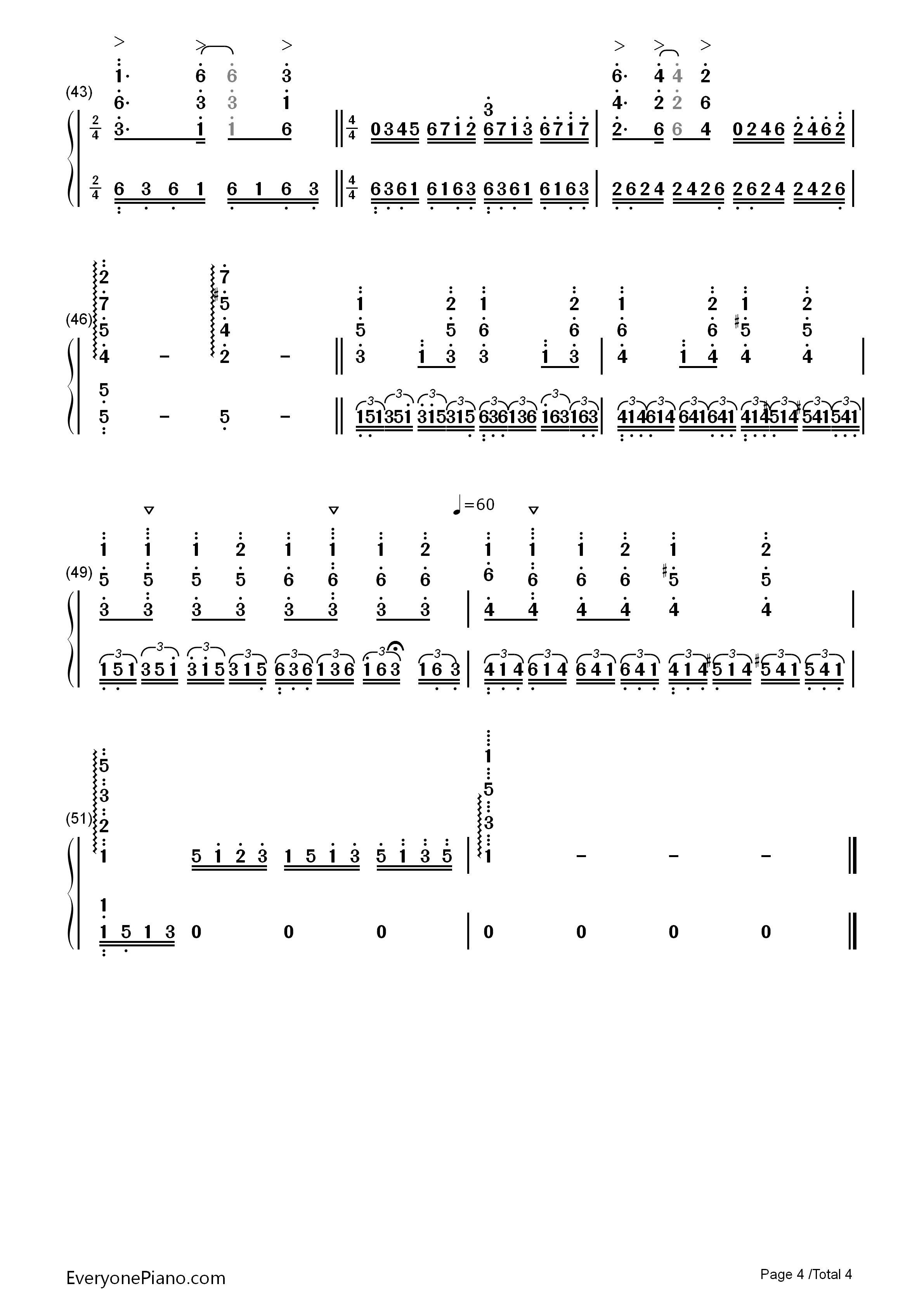Unchained Melody Numbered Musical Notation Preview 4