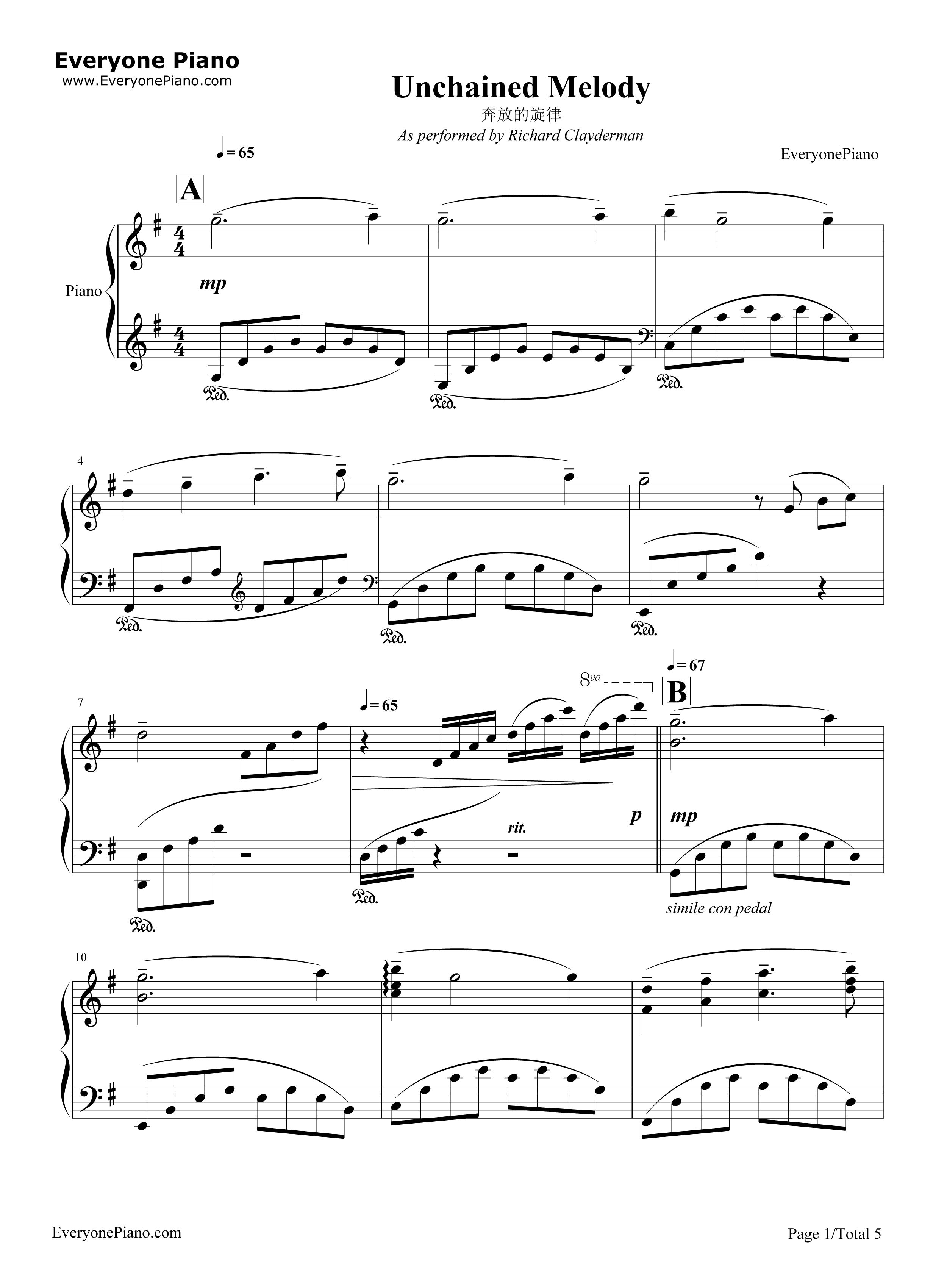 Unchained Melody Stave Preview 1-Free Piano Sheet Music u0026 Piano Chords