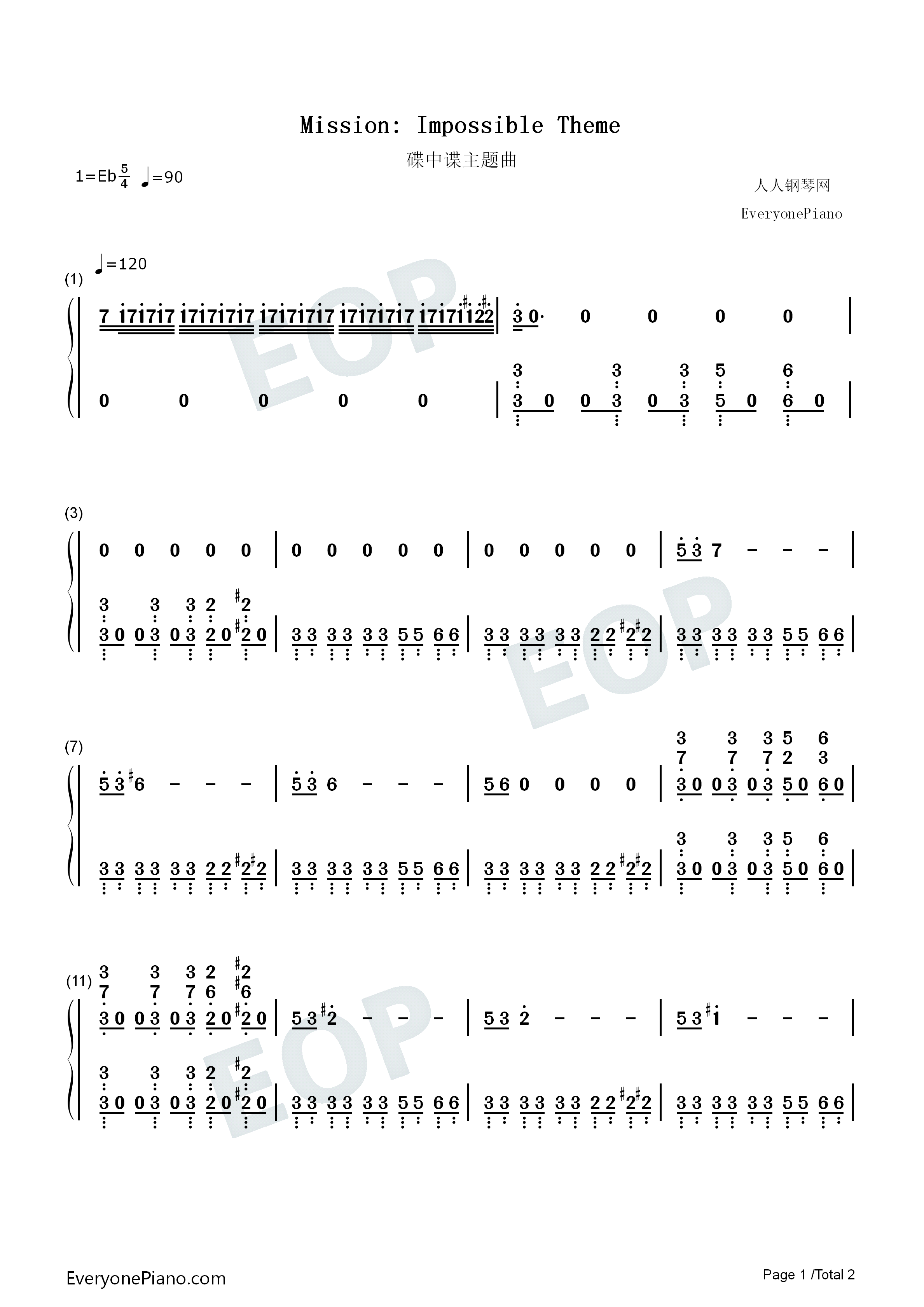 Mission impossible theme numbered musical notation preview 1 listen now print sheet mission impossible theme numbered musical notation preview 1 hexwebz Images