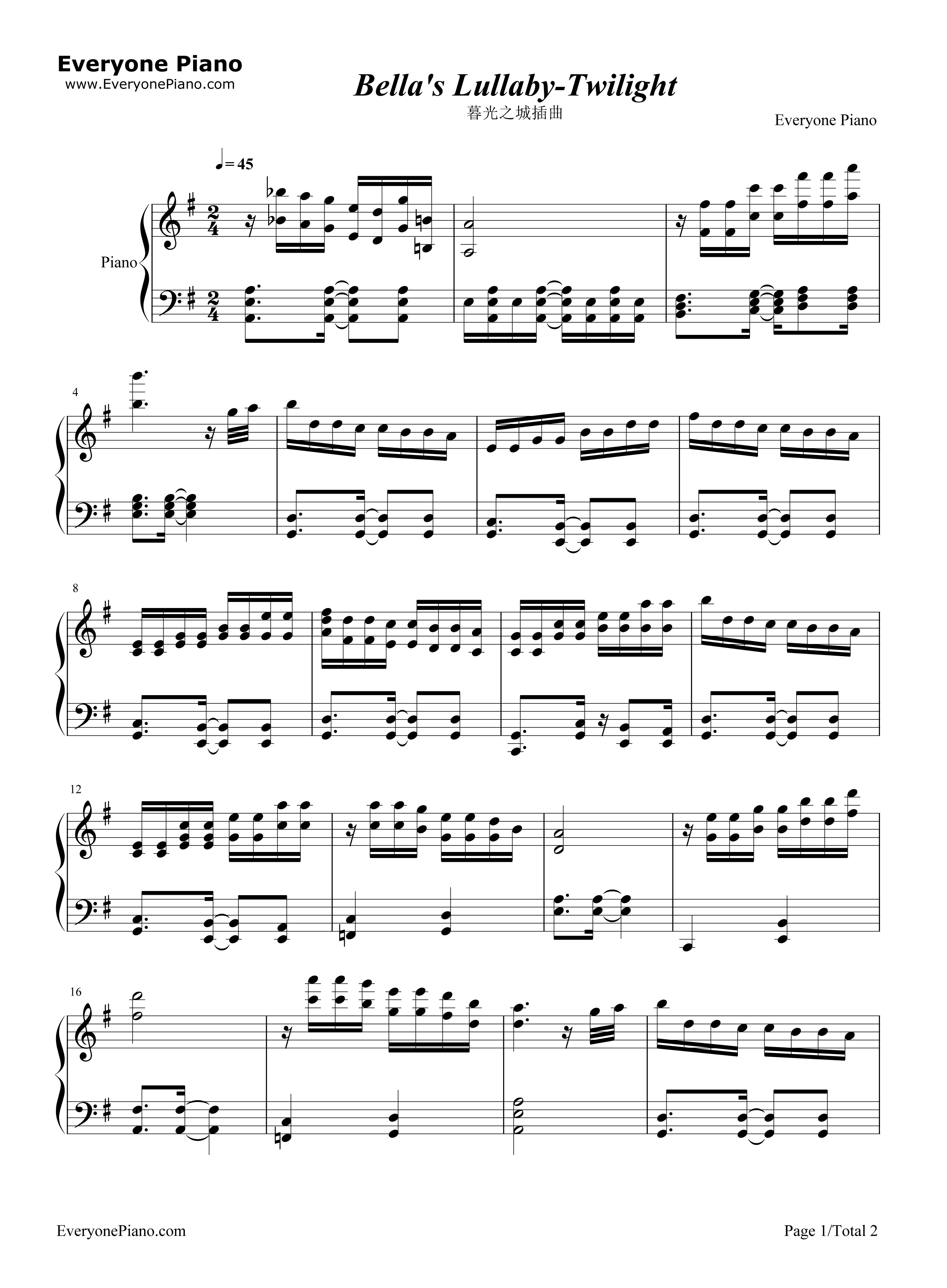 Burwell - Bella's Lullaby sheet music for piano solo [PDF]