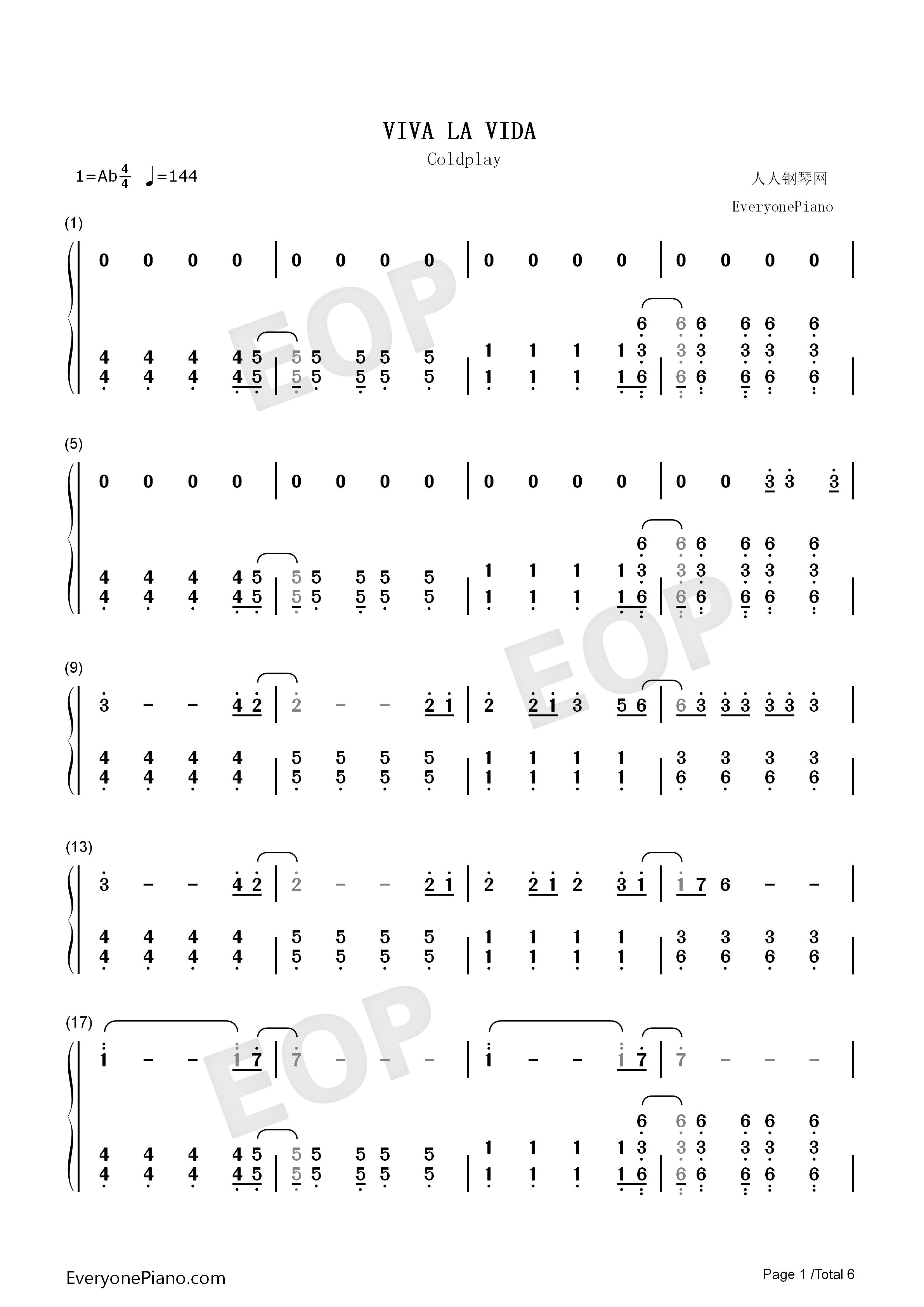Viva la vida numbered musical notation preview 1 free piano sheet listen now print sheet viva la vida numbered musical notation preview 1 hexwebz Choice Image