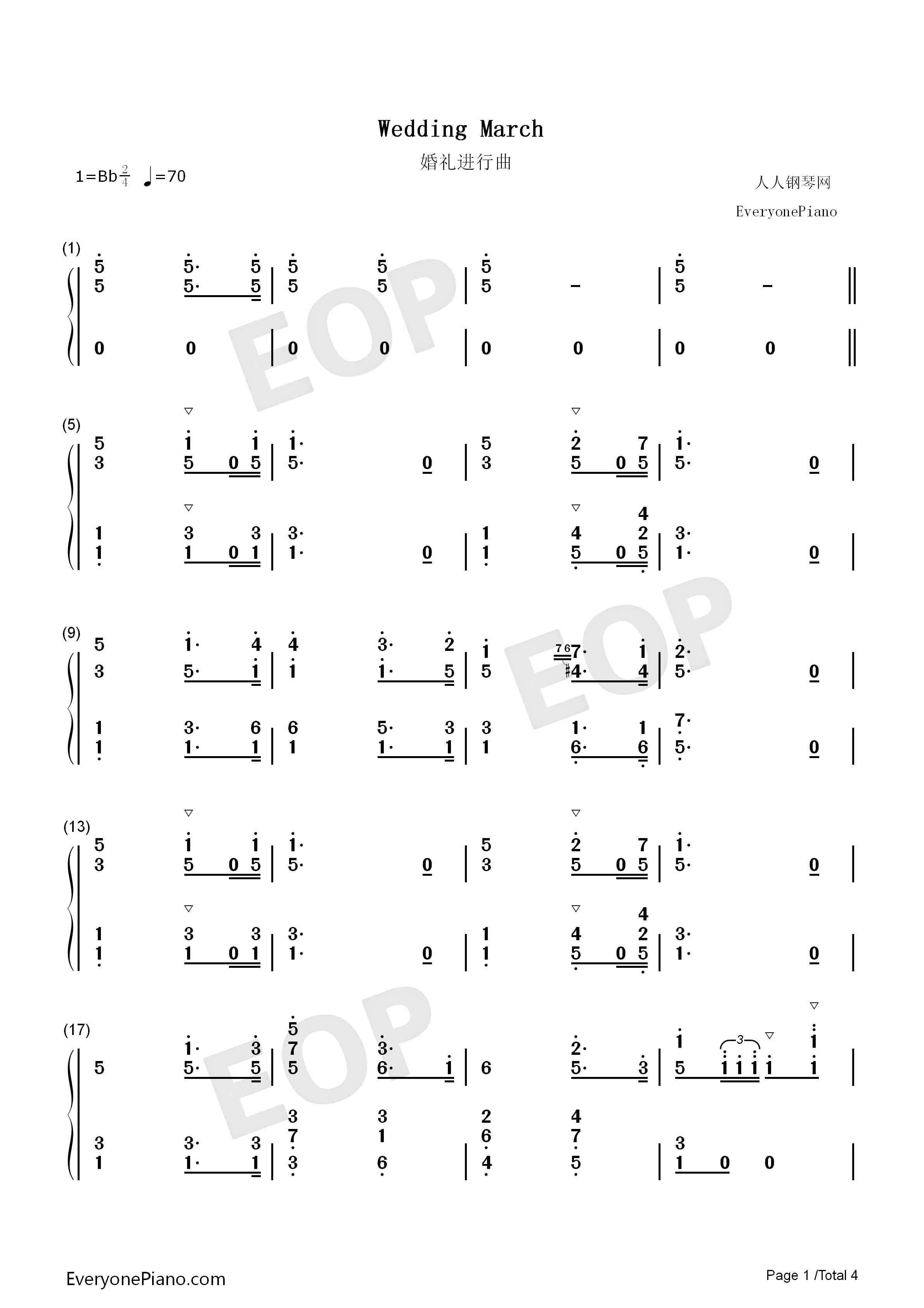 Wedding march richard wagner numbered musical notation preview 1 listen now print sheet wedding march richard wagner numbered musical notation preview 1 hexwebz Image collections