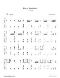 Winter Wonderland-Christmas Song Numbered Musical Notation Preview 1
