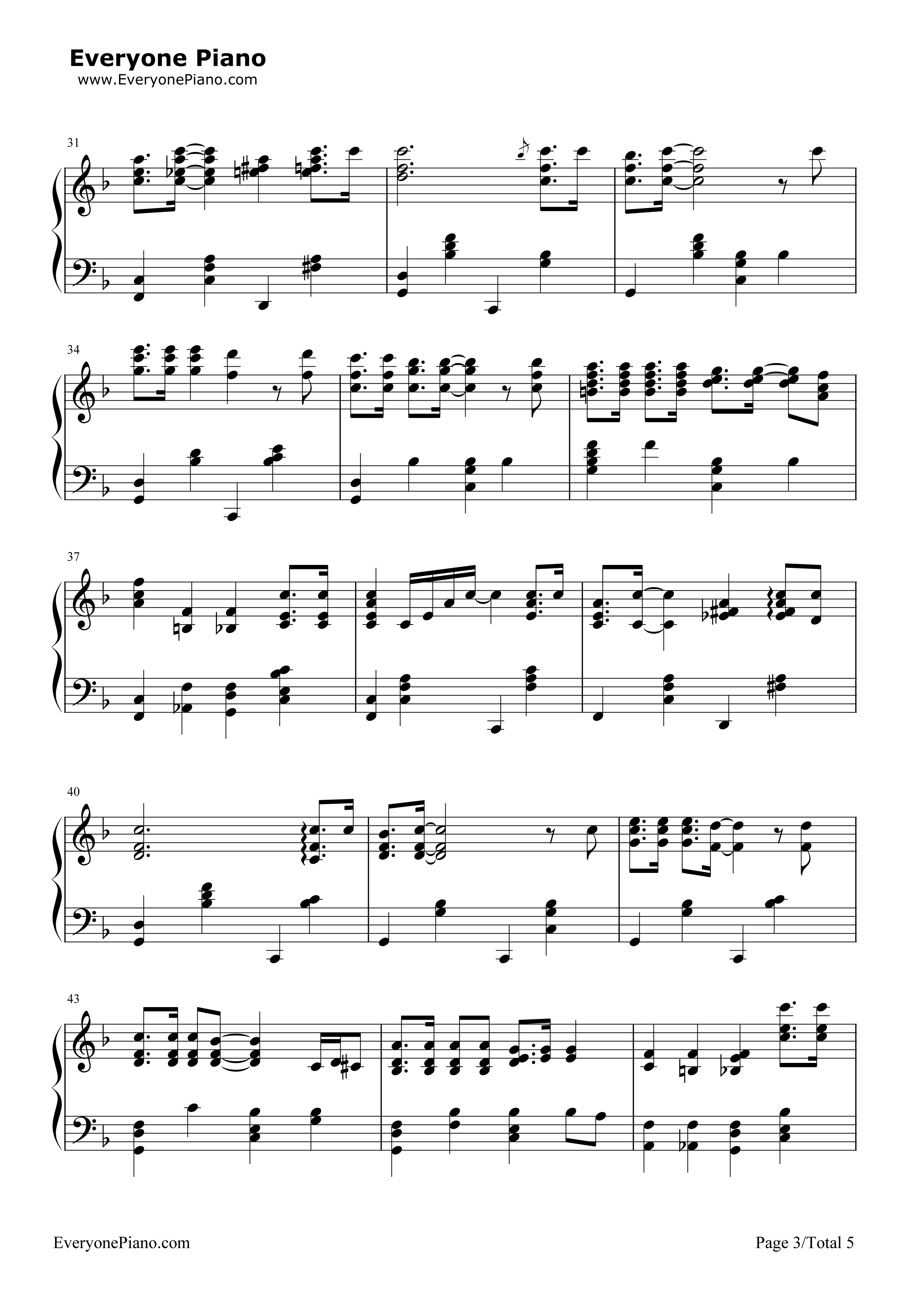 Winter wonderland christmas song stave preview 3 free piano sheet