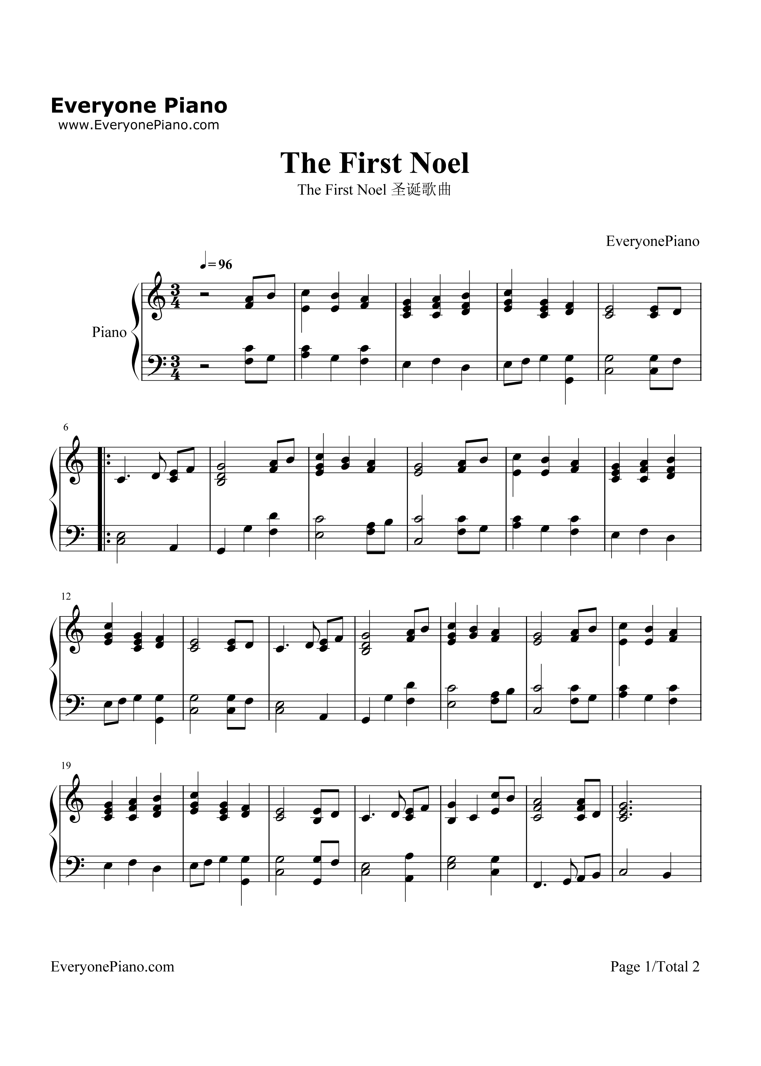 The First Noel-Christmas Song Stave Preview