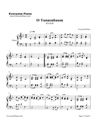 Oh Christmas Tree-O Tannenbaum-Christmas Song Stave Preview 1