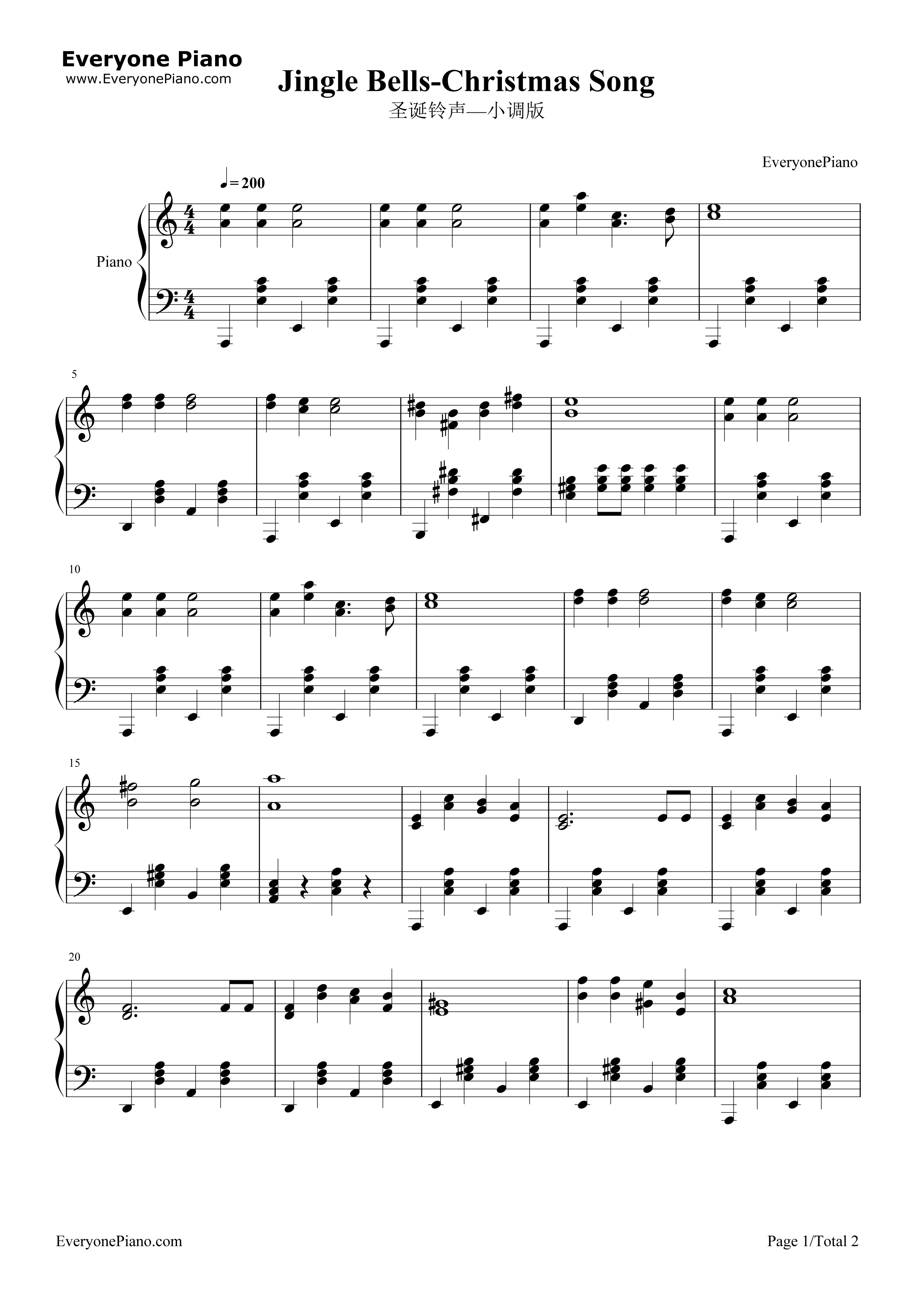 Jingle Bells-Christmas Song Stave Preview