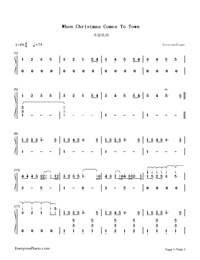 When Christmas Comes To Town-Christmas Song-Numbered-Musical-Notation-Preview-1