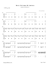 Merry Christmas Mr. Lawrence-Christmas Song Numbered Musical Notation Preview 1