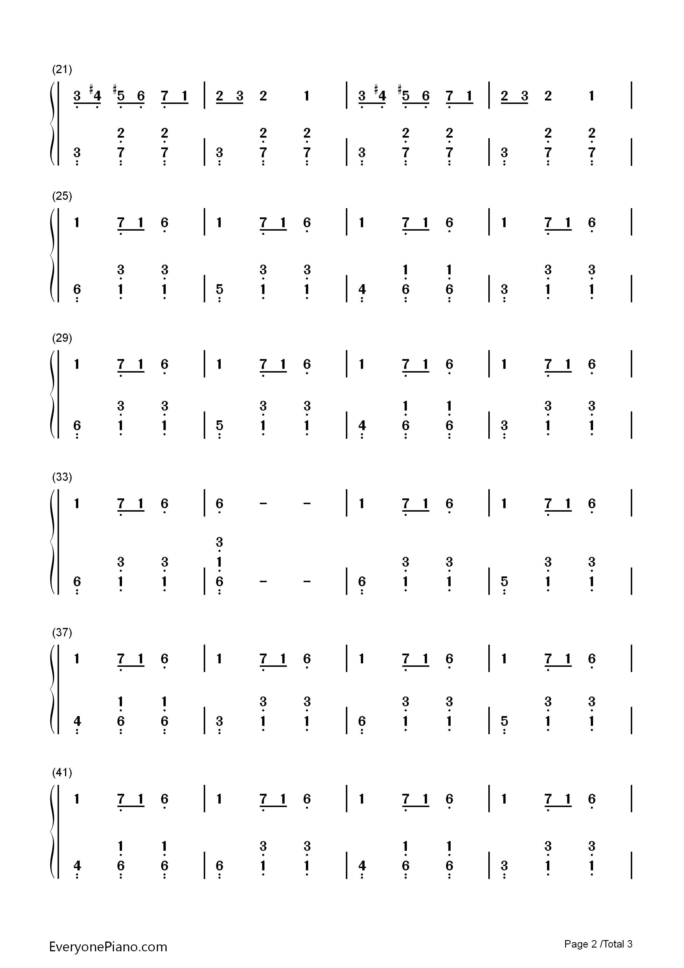 Carol of The Bells-Christmas Song Numbered Musical Notation Preview 2
