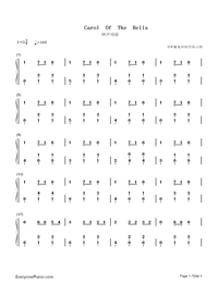 Carol of The Bells-Christmas Song Numbered Musical Notation Preview 1