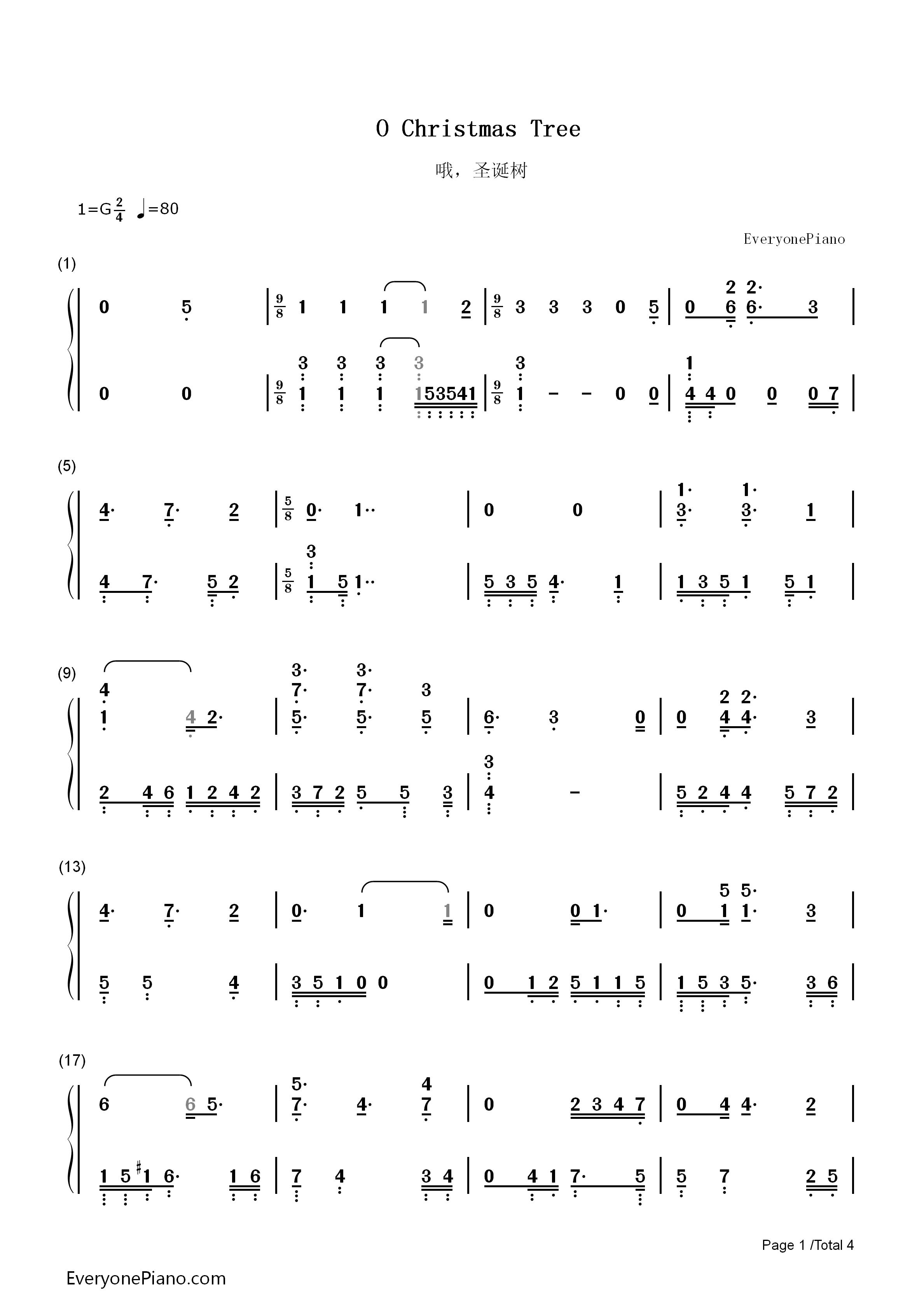 O Christmas Tree Sheet Music For Piano