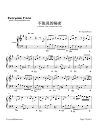 Secret jay chou piano sheet for Jardin secret piano