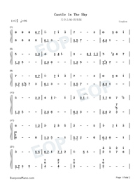 Castle In The Sky-Super Simple Edition Numbered Musical Notation Preview 1