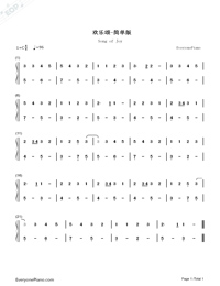 Ode to Joy-Symphony No. 9-Simplest Version-Numbered-Musical-Notation-Preview-1