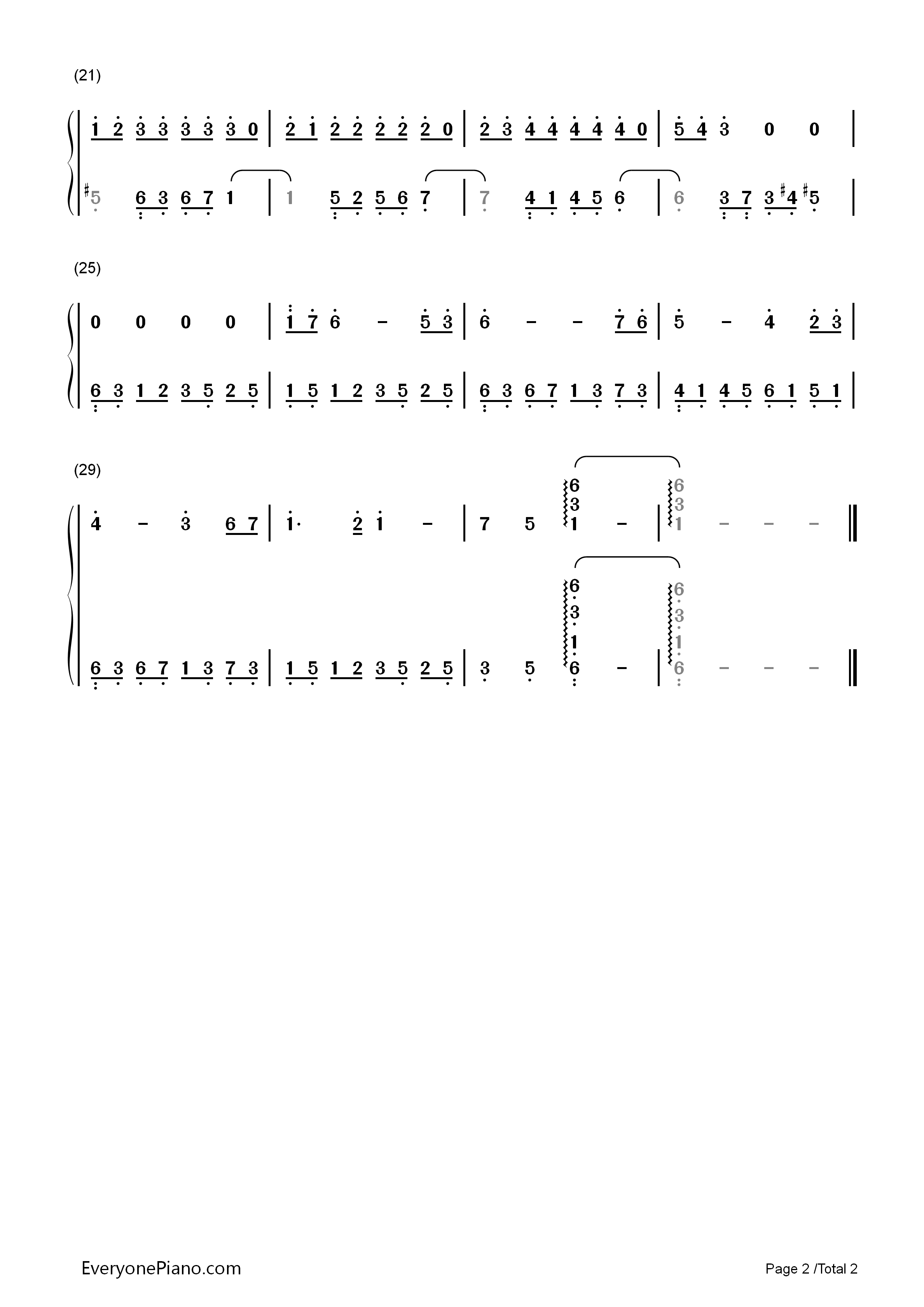 Lovelorn March-Easy Version Numbered Musical Notation Preview 2