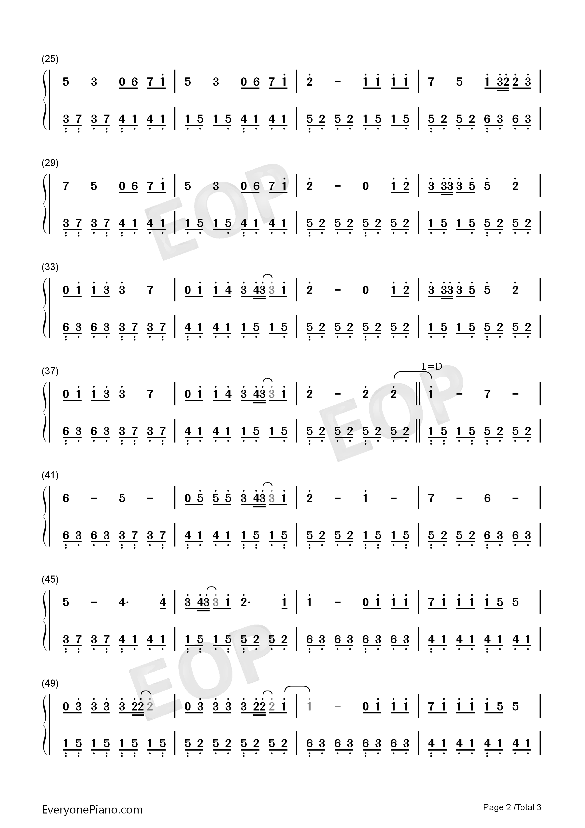 Beautiful in White-Westlife Numbered Musical Notation Preview 2