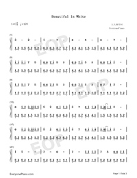 Beautiful in White-Westlife Numbered Musical Notation Preview 1