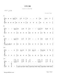 天空の城ラピュタ(中級バージョン)両手略譜プレビュー1