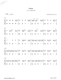 Canon In G-Simple Version-Numbered-Musical-Notation-Preview-1