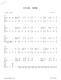 Castle in the Sky-Moderate Version-Numbered-Musical-Notation-Preview-1