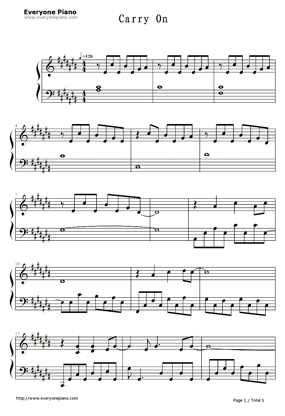 Carry on the ending theme of faith free piano sheet music piano carry on the ending theme of faith stave preview 1 hexwebz Image collections