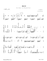 One Glance Ten Thousand Years-Numbered-Musical-Notation-Preview-1