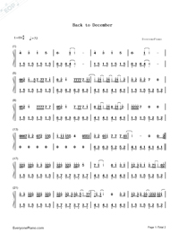 Back to December Numbered Musical Notation Preview 1