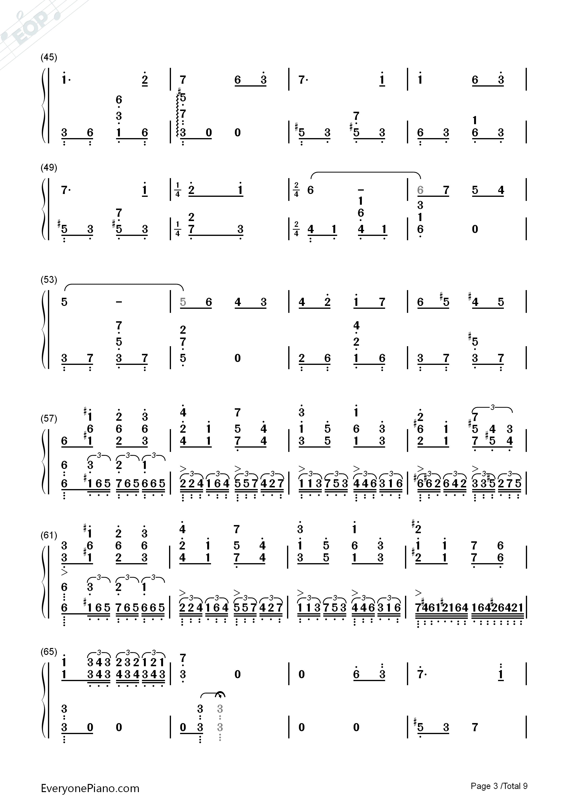 Lilium Numbered Musical Notation Preview 3