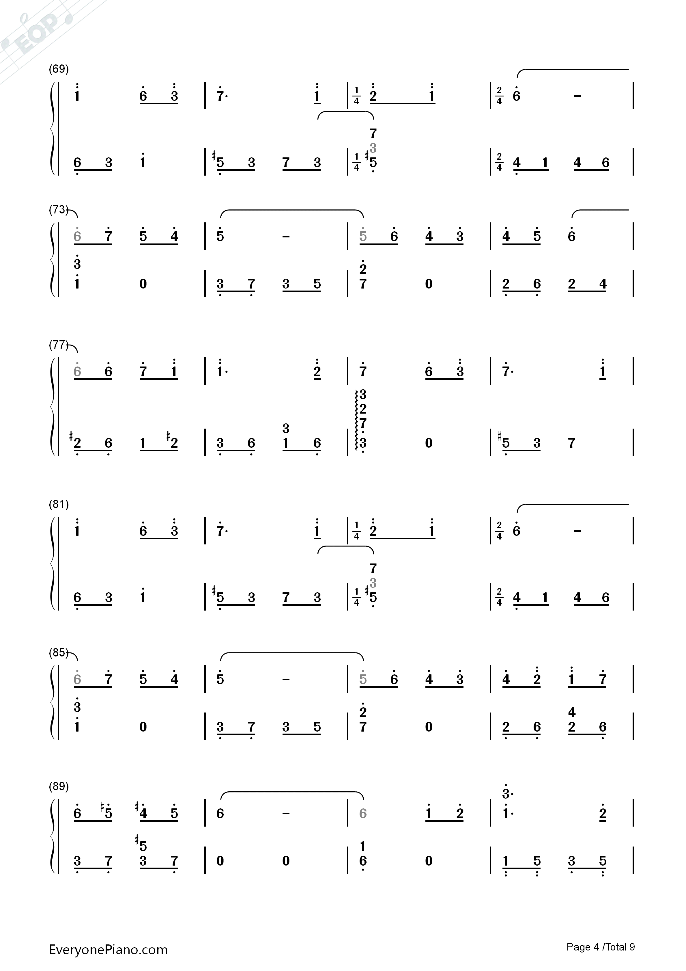 Lilium Numbered Musical Notation Preview 4