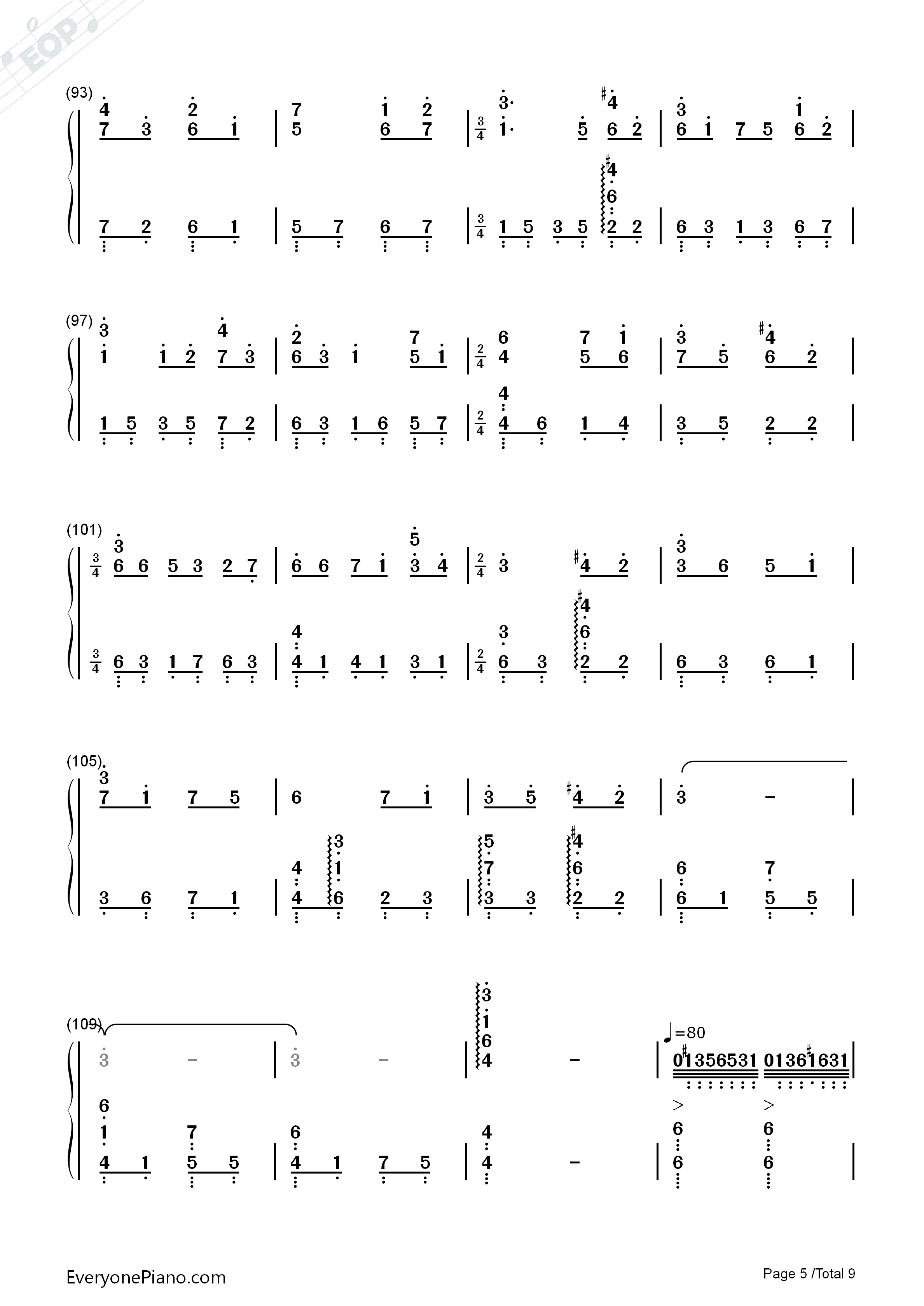 Lilium Numbered Musical Notation Preview 5
