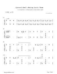 Carousel-Howl's Moving Castle Theme-Numbered-Musical-Notation-Preview-1